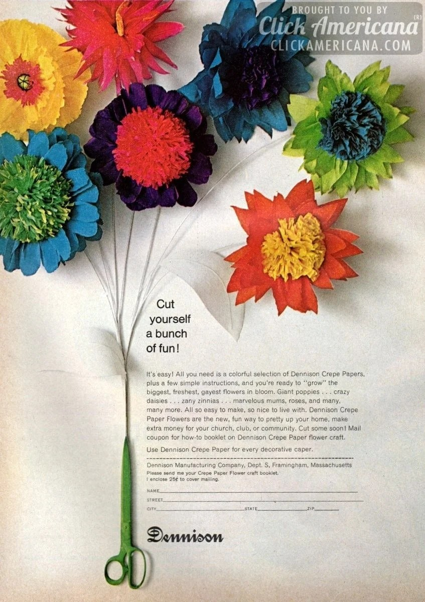Crepe Paper Flower Craft Ideas 1967 Click Americana