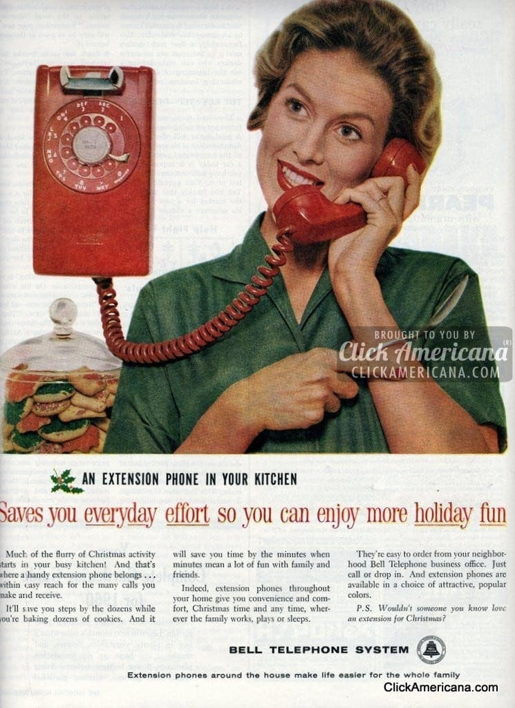 Extension phone in your kitchen saves everyday effort 1959  Click Americana