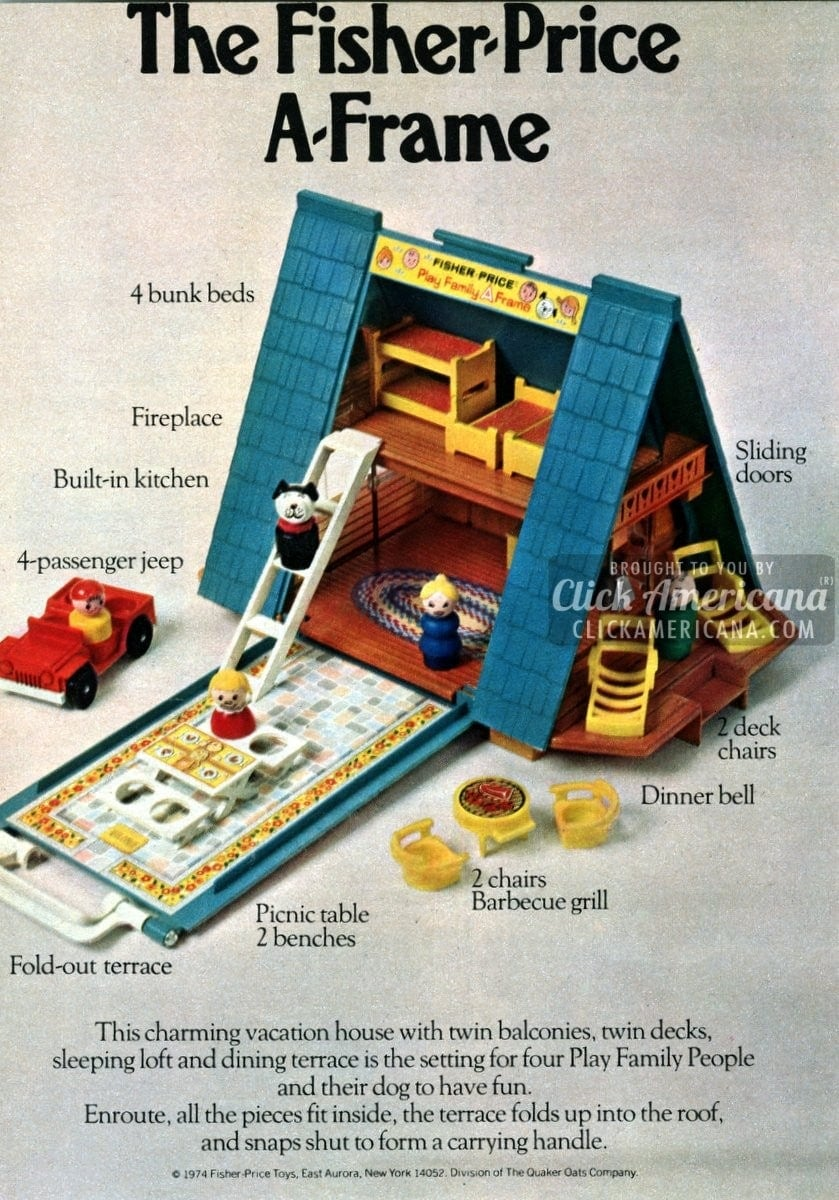 The Fisher Price AFrame dollhouse 1974  Click Americana