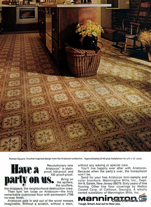 A variety of vinyl kitchen floors from the 1970s  Click