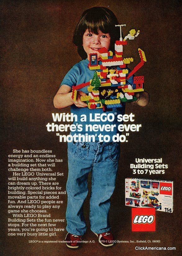 Girls Love Lego Toy Blocks Too 1979 Click Americana