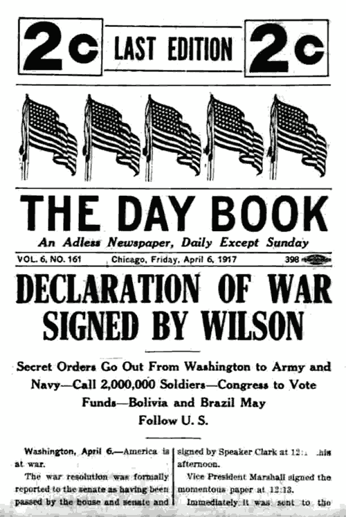 Declaration of war signed by President Wilson (1917
