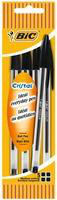 Bic Cristal Medium Ball Point Pen Black Pouch of 4-0