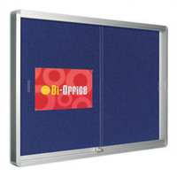 Bi-Office Lockable Glazed Display Notice Board 1000x700mm Blue Fabric-0
