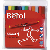 Berol Colourbroad Pen Assorted Water Based Ink Wallet of 12 CB12W12 S0375410-0