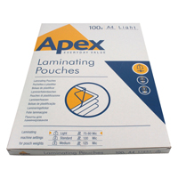 Fellowes Apex Laminating Pouch A4 Light Duty Clear Pk 100 6003201-0