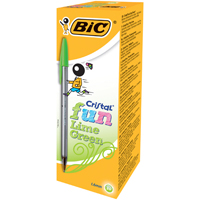 BIC Cristal Fun Lime Green Ball Pen Pk 20 927885-0
