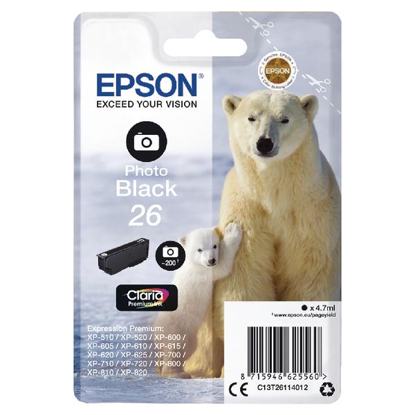 Epson 26 Photo Black Ink Cartridge C13T26114012-0