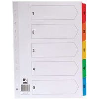 Q-Connect Index A4 Multi-Punched A-Z 20-Part Reinforced Multi-Colour Pre-Printed Tabs KF01523