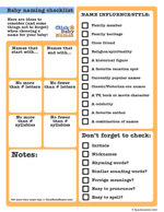 Printable baby name checklists