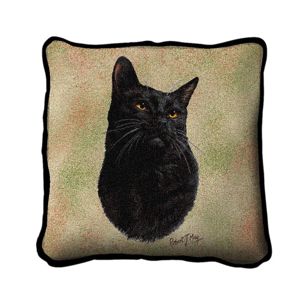 Pure Country Weavers Home Decorative Black Cat Pillow