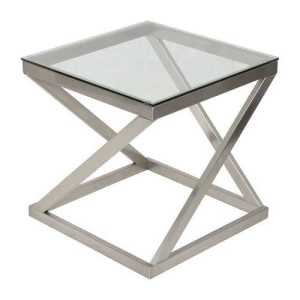 Glass-Top Metal-Frame End-Table Nightstand with free shipping.