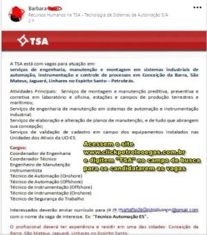 TSA engenharia contratando no espirito santo