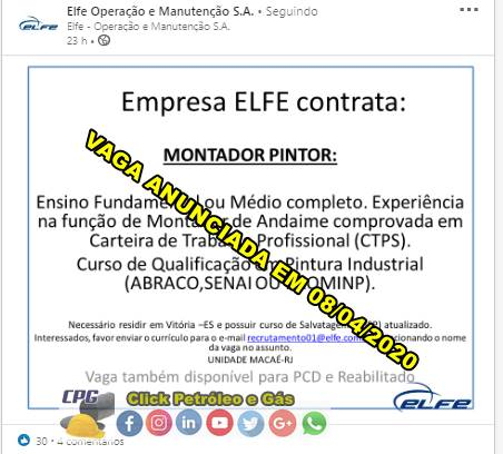 Montador de Andaime convocado hoje para vaga de emprego no Espírito Santo por terceirizada offshore