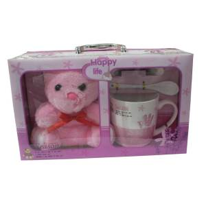 Happy Life decoration piece Mug with teddy bear