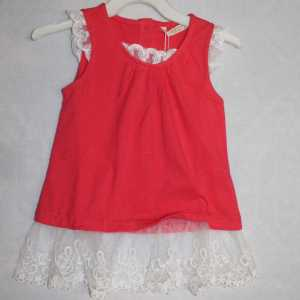 off sleeve red color frok for baby girl - shop online in Pakistan
