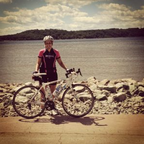 Amy at the Mississippi on RAGBRAI
