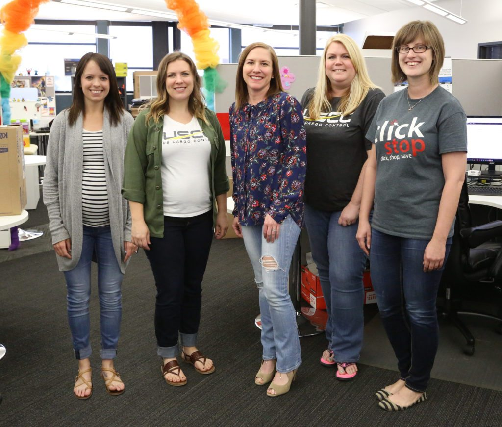 Our Creative Marketing Team from left to right, Bri, Rachel, Kerry, Amanda, & Tina