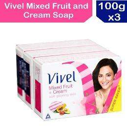 Vivel Mixed Fruit and Cream Soap, 100g (Pack of 3) - ClickUrKart