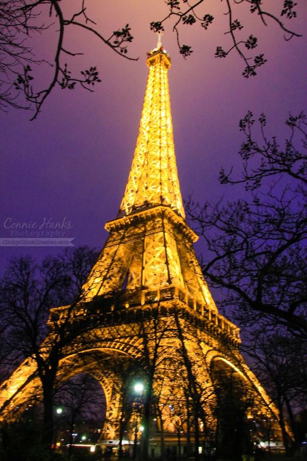 Paris Eiffel Tower at Night Purple