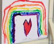 Connie Hanks Photography // ClickyChickCreates.com // watercolor rainbow and heart art by my 6 year old