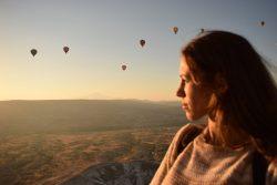 Valentina in Cappadocia sulla mongolfiera