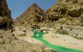 Vista del torrente che solca il Wadi Shab