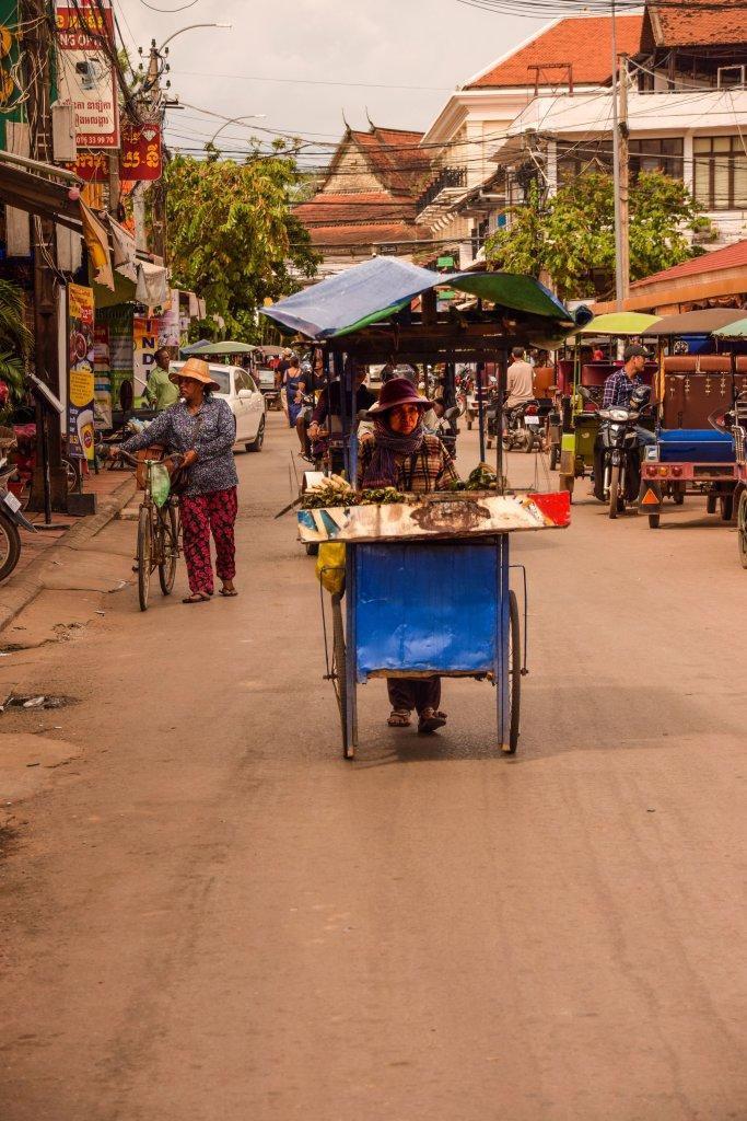 Una venditrice di street food per le strade di Siem Reap