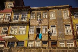 Porto: Particolare delle case Case nella Ribeira
