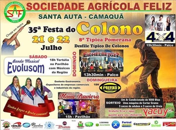 35ª Festa do Colono e 8ª Típica Pomerana ocorre neste fim de semana; confira a programação