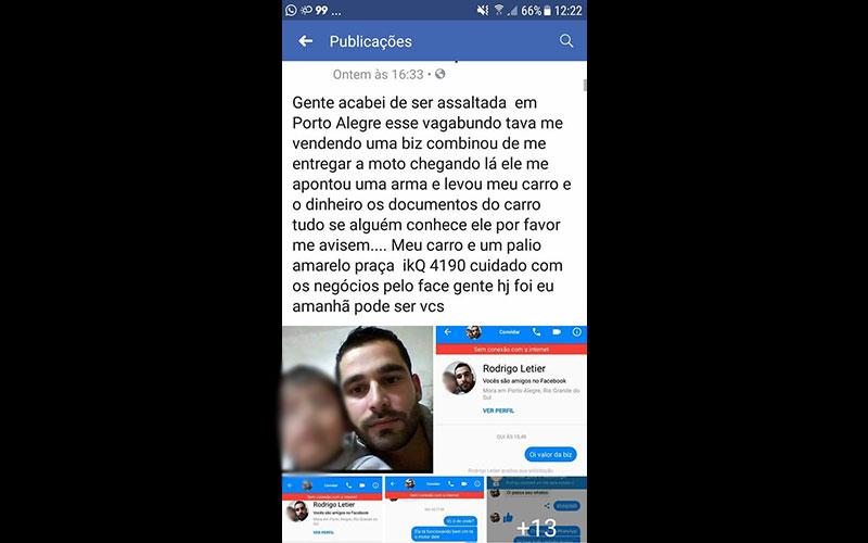 Morador de Tapes é vítima de falsa acusação no Facebook