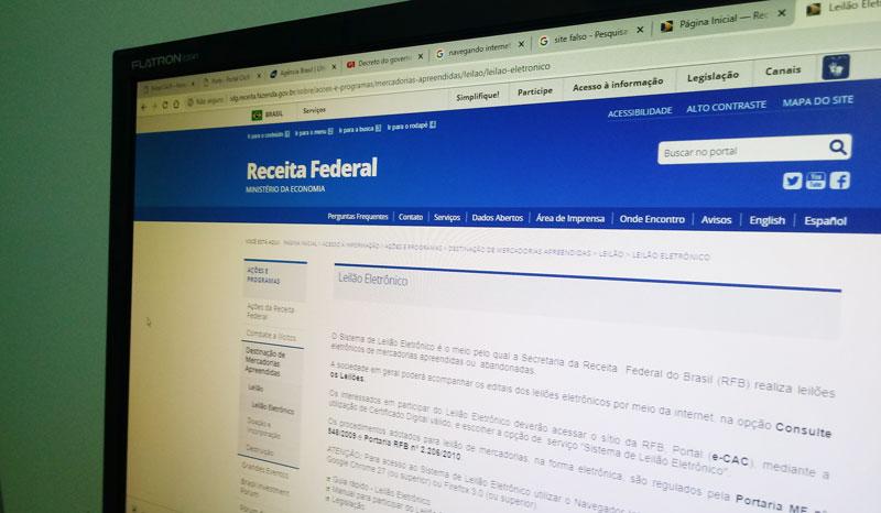Receita alerta para site falso que simula leilão de produtos