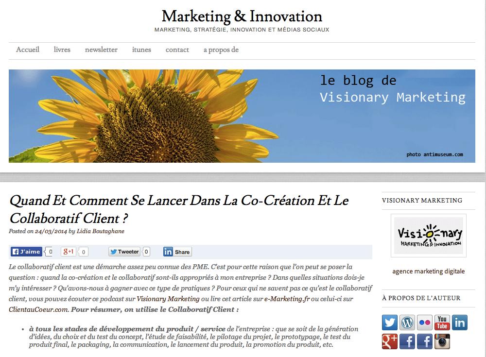 """Mon article en guest posting sur """"La co-creation et le collaboratif client sur le célèbre blog Visionary Marketing"""