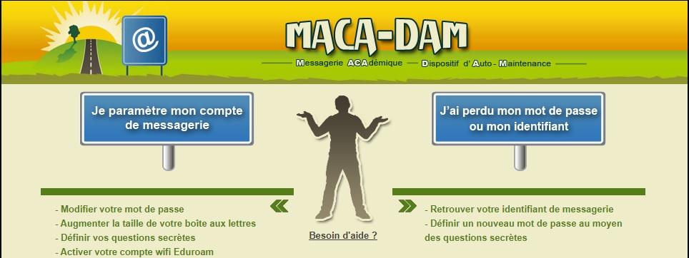 Webmail ac versailles Maca Dam problème de connexion