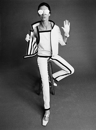 Model In Andre Courreges Gabardine Trouser Suit Custom Print