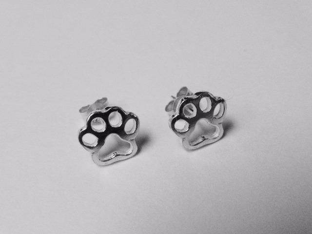 Paw Print Stud Earrings, Silver Earrings from Silver Dog