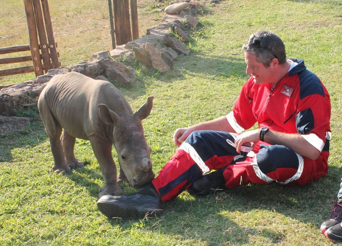 Ben-Johnson-with-Warren---rescued-Rhino