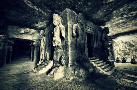 Elephanta caves, in Island of Gharapuri west of Mumbai Harbour