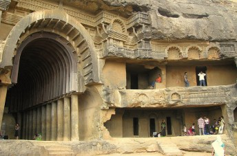 One of the entrances to the Vihara, stupa in the Kanheri Caves