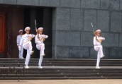 The changing of the guard at Uncle Ho's Mausoleum. The more formal side of the city