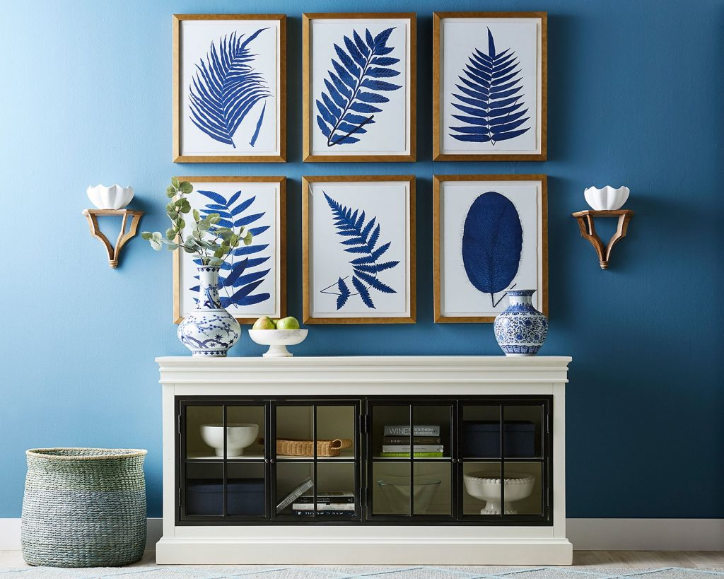 hanging wall art blue shadow leaf