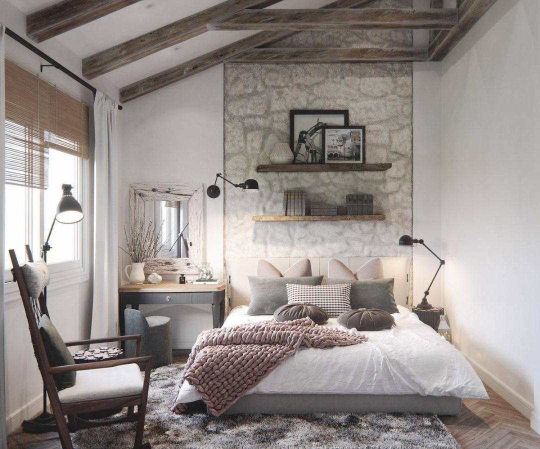 mediterranean rustic chic stylish bedroom