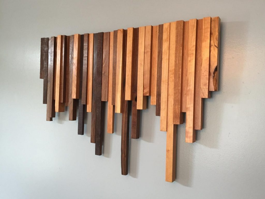 wooden wall art cherry walnut strips decor