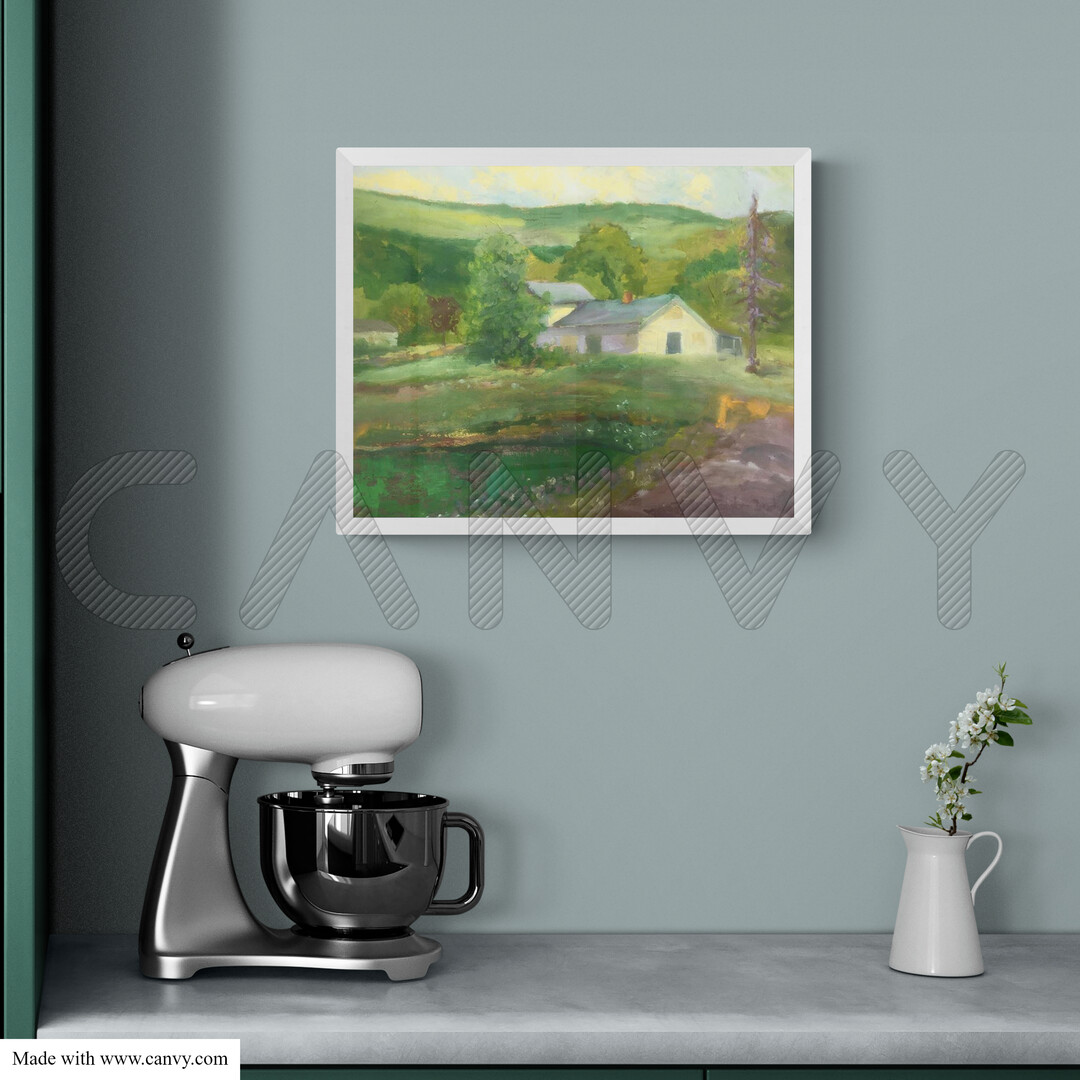 A mockup of the framed painting House and Pond