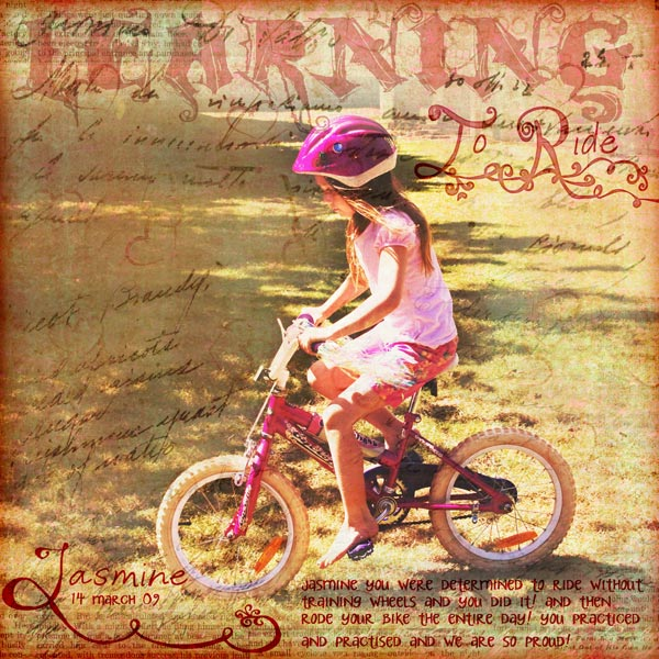 Learning to Ride digital scrapbook layout