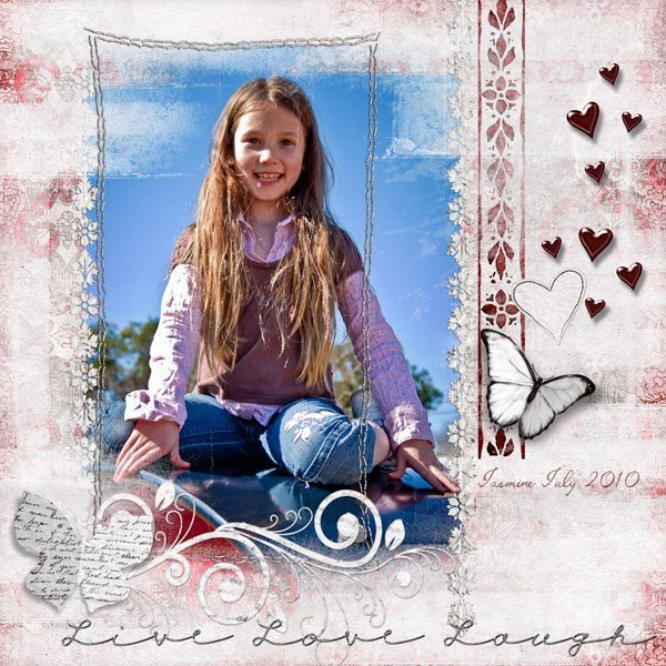 Live Love Laugh Digital Scrapbook Layout with Be My Valentine Digital Scrapbook Kit