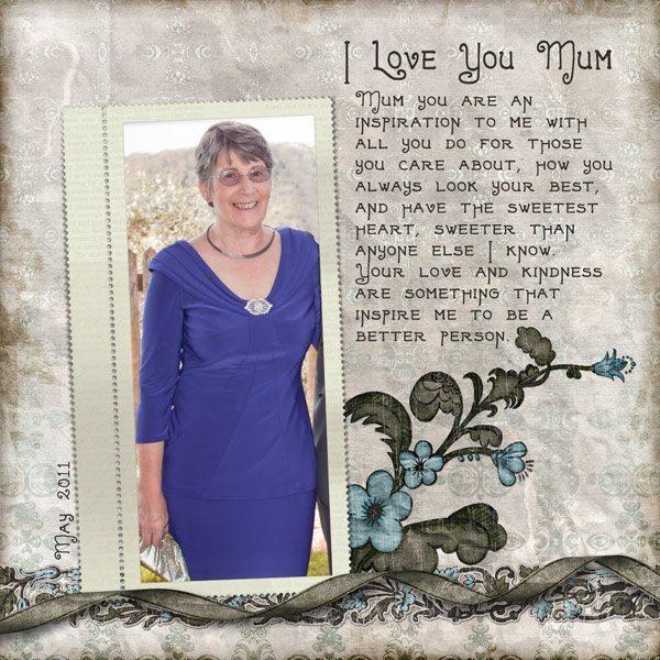 I Love You Mum Digital Scrapbook Layout