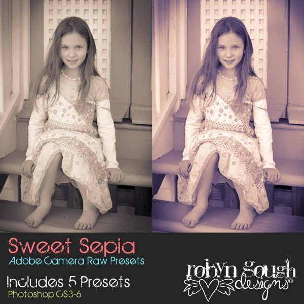 Sweet Sepia Adobe Camera Raw Presets by Clikchic Designs Designs