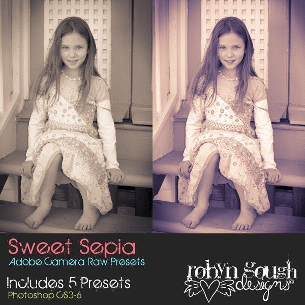 Sweet Sepia Adobe Camera Raw Presets by Robyn Gough Designs