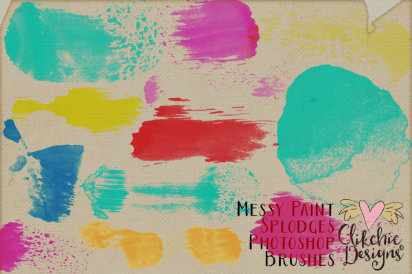 Messy Paint Splodge Watercolor Photoshop Brushes